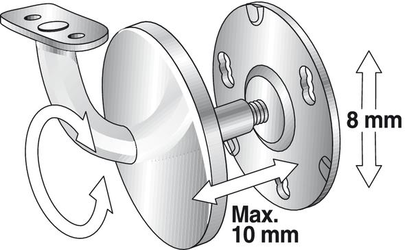 Support Mural /Éscalier Rampe Accessoires vap26 90 Degr/és Acier Inoxydable Rampe Support Argent Free Size