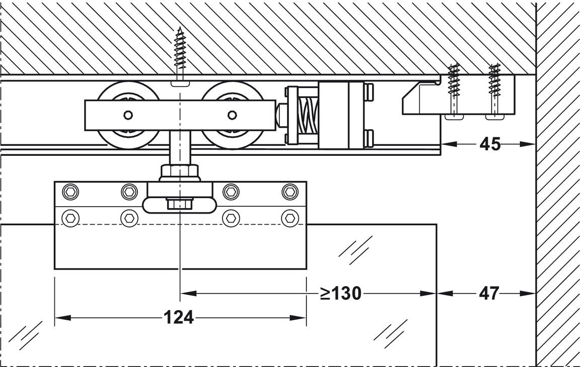 Plan Porte À Galandage bloc de fixation de rails, pour solution de porte à
