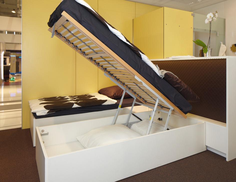l vateur de sommier lattes m canisme d 39 ouverture avec ressorts de pression gaz dans la. Black Bedroom Furniture Sets. Home Design Ideas