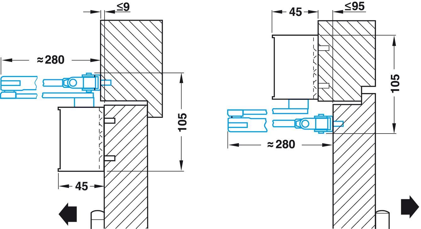 Ferme porte de base ts 72 en 2 4 dorma dans la for Cote standard porte