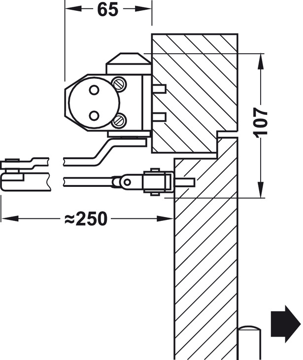 Ferme porte sup rieur dcl 11 en 3 avec bras compas for Cote standard porte
