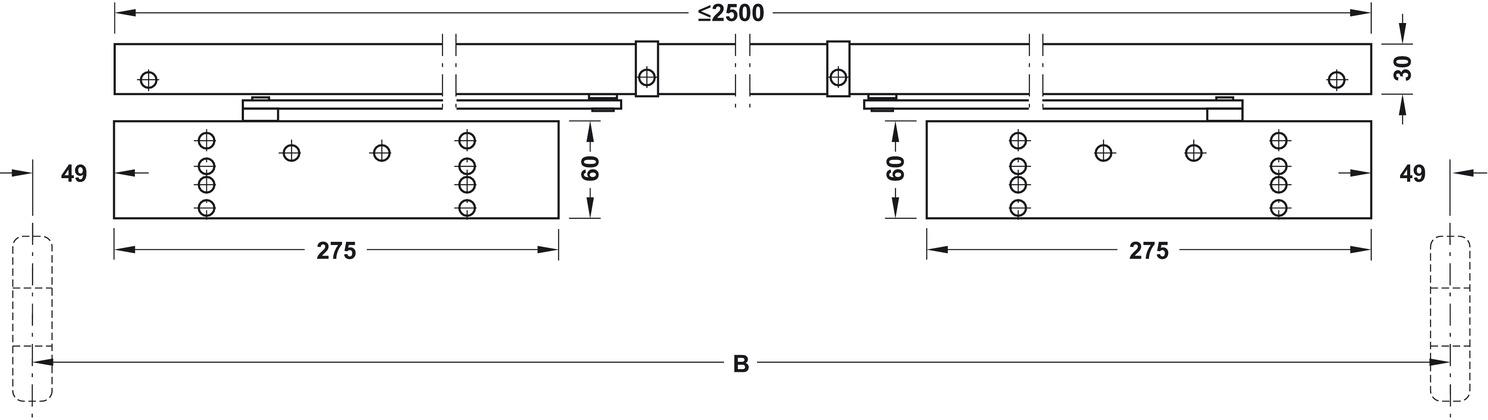 Ferme porte ts 93 gsr emf 2 bg en design contur avec - Ferme porte a coulisse ...