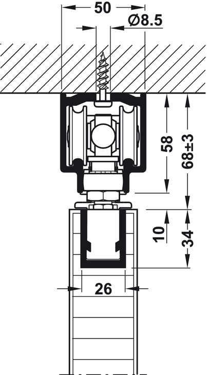 Ferrure pour porte coulissante cloisons pliantes hawa variofold 80 h dans - Ferrure porte coulissante suspendue ...