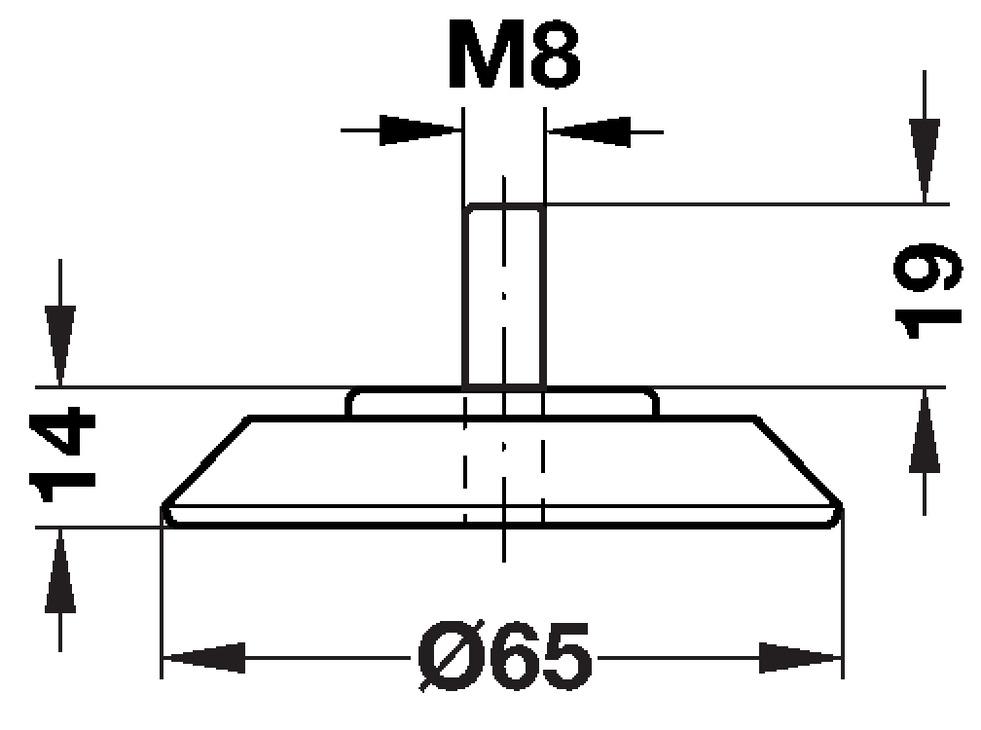 pied de meuble sans hauteur r glable avec tige filet e m8 aluminium dans la boutique h fele. Black Bedroom Furniture Sets. Home Design Ideas