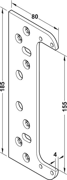 plaque de fixation pour paumelle pose invisible. Black Bedroom Furniture Sets. Home Design Ideas