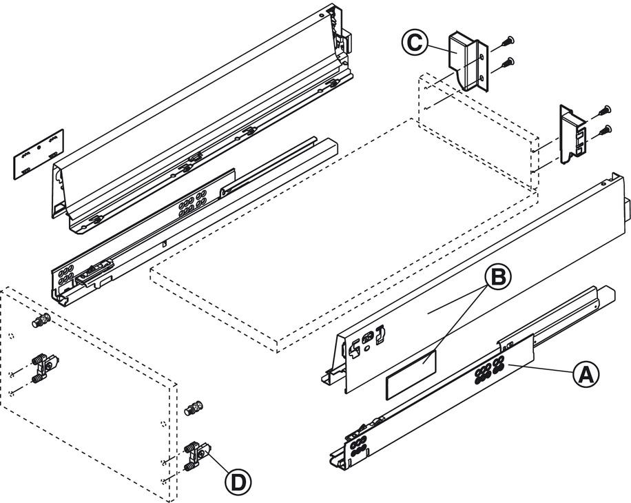 tiroir blum tandembox antaro avec rail de corps blumotion hauteur de syst me k hauteur de. Black Bedroom Furniture Sets. Home Design Ideas